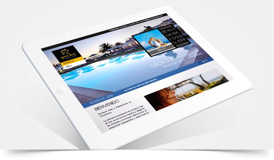 Agencia diseño web tablet gráfica hoteles restaurantes ibiza barcelona lanzarote - web site gecko formentera