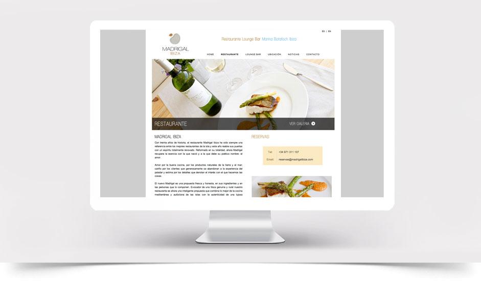Agencia diseño web gráfica hoteles restaurantes ibiza barcelona lanzarote - web site madrigal ibiza