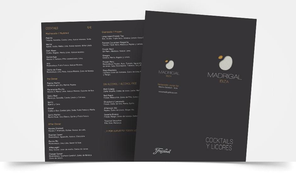 Agencia diseño gráfica para hoteles restaurantes ibiza barcelona lanzarote - menú madrigal ibiza