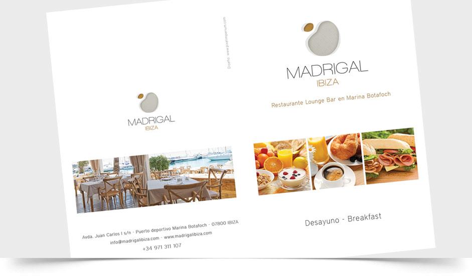 Agencia diseño gráfico menus hoteles restaurantes ibiza barcelona lanzarote - menú madrigal ibiza