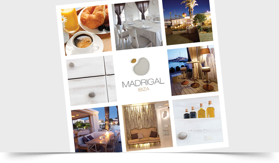 Agencia diseño gráfica hoteles restaurantes ibiza barcelona lanzarote - folleto madrigal ibiza