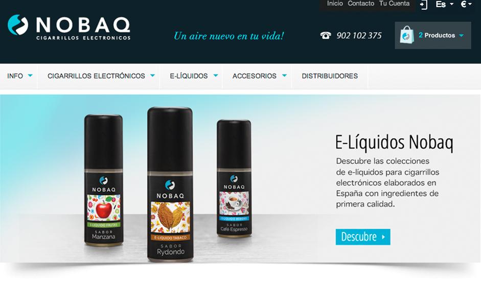 Branding diseño corporativo web site nobaq cigarrillos electrónicos ibiza barcelona lanzarote