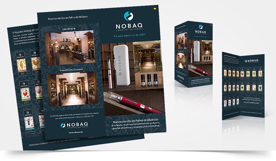 Branding diseño corporativo folleto nobaq cigarrillos electrónicos ibiza barcelona lanzarote