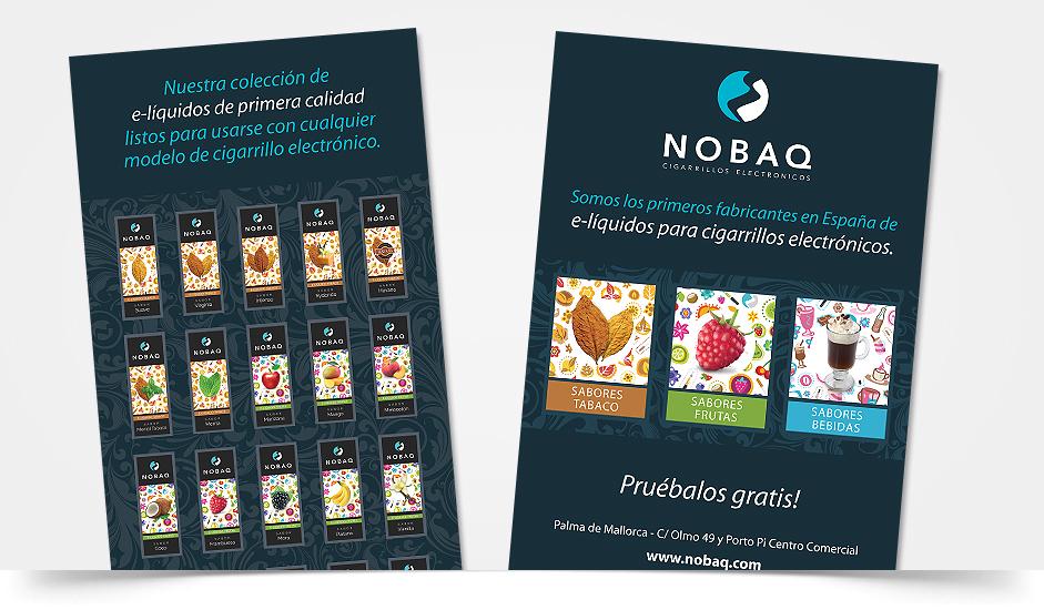 Branding diseño corporativo cartel nobaq cigarrillos electrónicos ibiza barcelona lanzarote