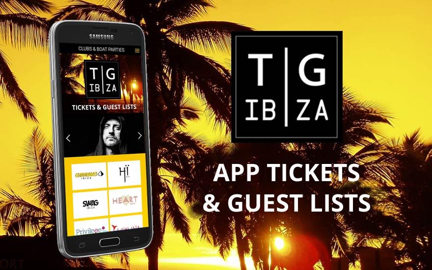 Aplicación móvil - TG Ibiza tickets and Guest Lists